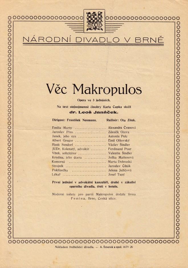 Leoš Janáček: Věc Makropulos - obsazení - ND Brno 1926